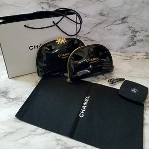New CHANEL Set of 2 Cosmetic Makeup Bag with Bonus